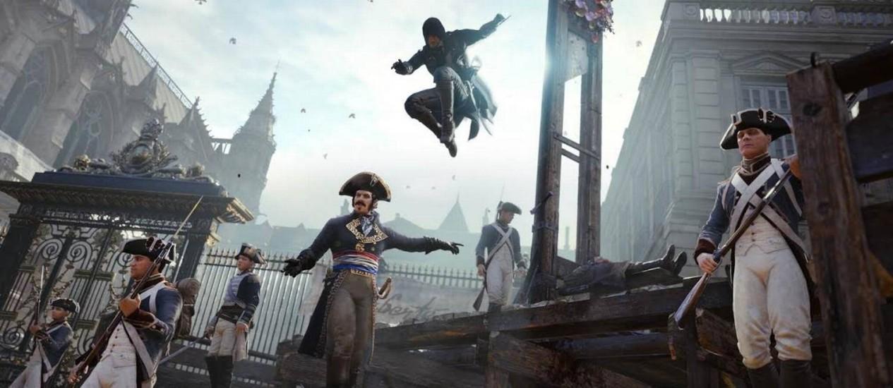 """Cena de """"Assassin's Creed: Unity"""": ambientado na Revolução Francesa, título vem causando polêmica na França Foto: Divulgação"""