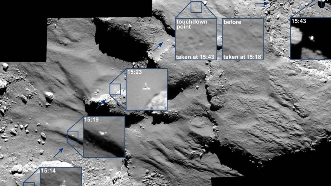 """Composição de imagens captadas pela sonda Rosetta mostra o primeiro """"quique"""" do módulo Philae no cometa perto do local originalmente previsto para seu pouso Foto: ESA"""