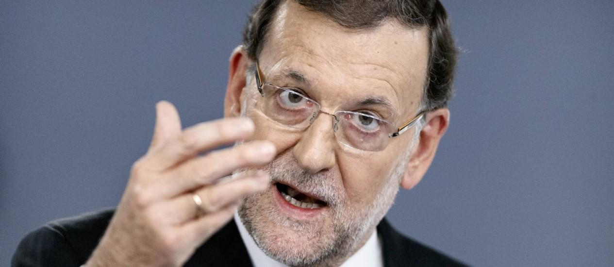 Mariano Rajoy. Primeiro-ministro suprimiu parágrafo de proposta de reconhecimento do Estado palestino que poderia desagradar governo israelense Foto: Daniel Ochoa de Olza / AP