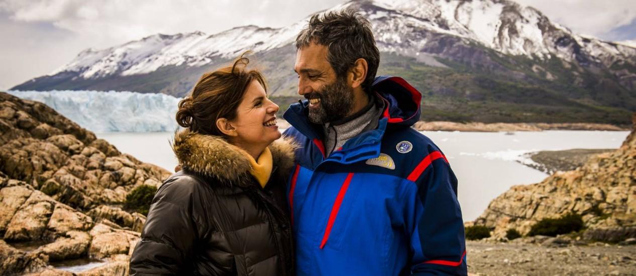Débora Bloch e Domingos Montagner posam na Patagônia Argentina Foto: TV Globo/João Miguel Júnior
