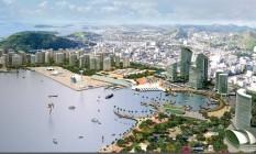 Perspectiva. Plavo prevê duas torres, marina e terminal intermodal Foto: Terceiro / Divulgação