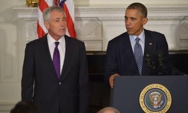 Obama anuncia a saída de Hagel do Departamento de Defesa na Casa Branca Foto: MANDEL NGAN / AFP