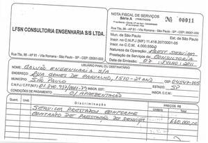 Documento entregue pelo advogado da Galvão Engenharia comprovaria pagamento de propina a Shinko Nakandakari Foto: Reprodução
