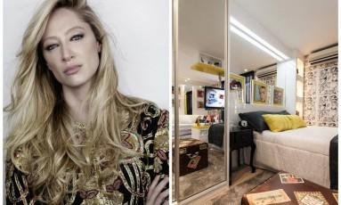Talytha Pugliesi não abre mão de espelho no quarto Foto: Montagem sobre fotos de divulgação