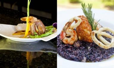 Camarão da Barão Gastronomia e risoto de arroz negro do Imperatriz Leopoldina: apostas do Petrópolis Gourmet Foto: Divulgação