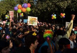 Macha é a primeira desde que a Suprema Corte indiana ressuscitou lei da era colonial que bania casamento entre pessoas do mesmo sexo Foto: SAJJAD HUSSAIN / AFP