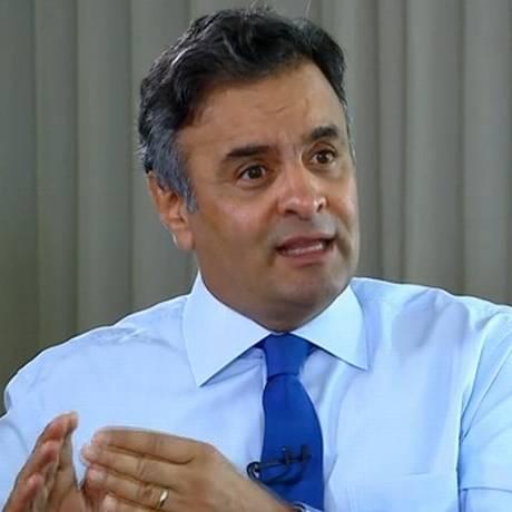 O senador Aécio Neves durante entrevista ao jornalista Roberto D´Ávila Foto: Reprodução