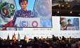 Secretária-executiva da convenção quadro da ONU para mudanças climáticas, Christiana Figueres, em discurso de abertura da COP20, em Lima, no Peru
