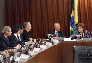 Dilma se reúne com a base aliada no Palácio do Planalto Foto: Givaldo Barbosa / O Globo