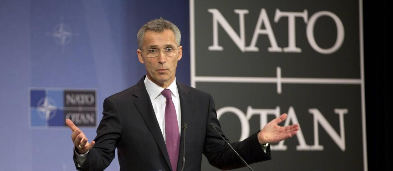 Jens Stoltenberg. Secretário-geral do Otan anunciou criação de força de resposta rápida para deter possíveis ataques russos Foto: Virginia Mayo / AP