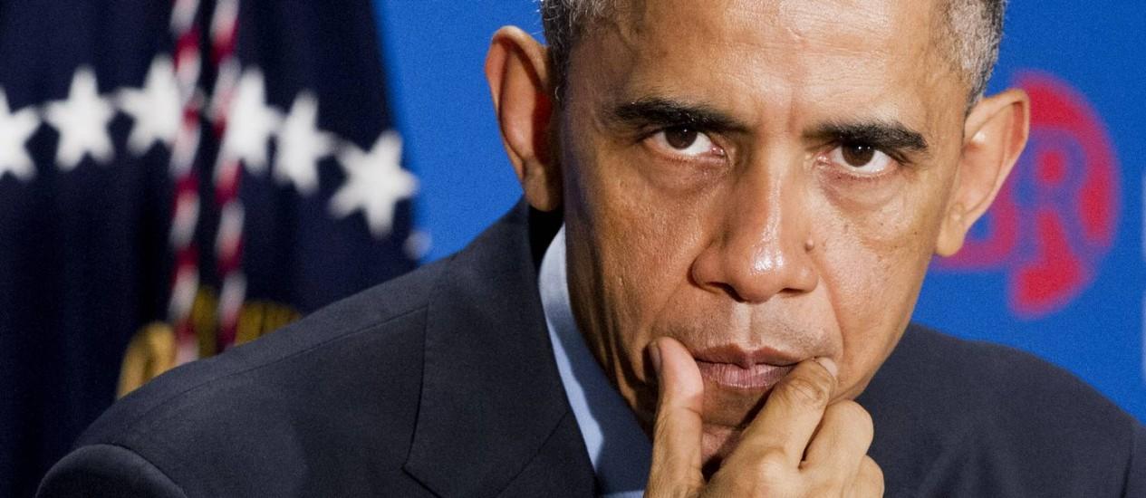 Barack Obama. Presidente americano afirmou não esperar mudança de posição por parte de Vladimir Putin quanto ao confronto na Ucrânia, e disse que EUA continuarão pressionando China para evitar pirataria cibernetica Foto: Jacquelyn Martin / AP