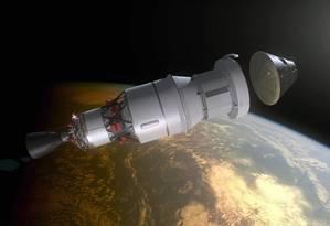 Ilustração mostra a cápsula Órion se separando do módulo de serviço e do segundo estágio do foguete: desenho lembra as naves do programa Apollo, que levaram astronautas à Lua Foto: Nasa