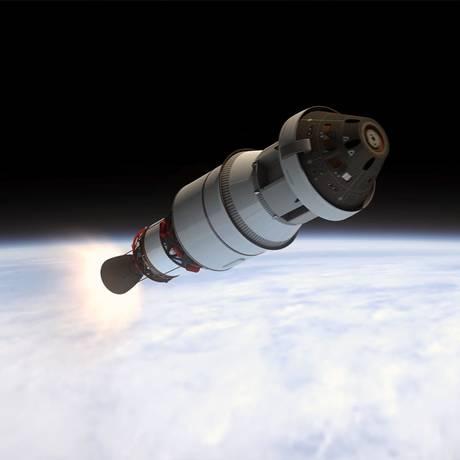 Ilustração mostra a cápsula Órion, ainda acoplada ao módulo de serviço e ao segundo estágio do foguete lançador, chegando à órbita da Terra Foto: Nasa