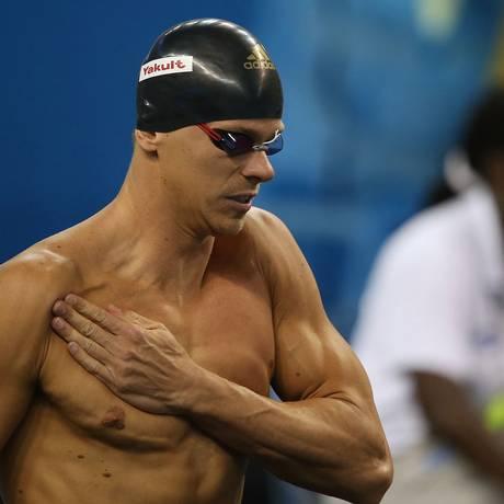 Cesar Cielo antes de cair na piscina para a semifinal dos 50m livre Foto: Satiro Sodre/SSPress / Divulgação