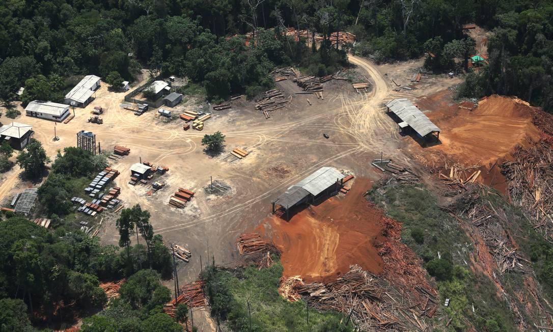 Serralheria ilegal em Placas, no Pará, fotografada pelo Greenpeace, seria a origem de madeira detectada na Holanda em 6/11/2014. Foto: / Divulgação/Lunae Parracho/Greenpeace
