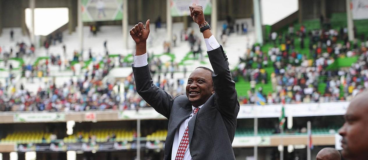 Uhuru Kenyatta em cerimônia de independência do Quênia, em Nairóbi Foto: SIMON MAINA / AFP