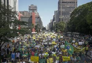 Manifestantes saíram do Masp em direção a praça Roosevelt, no Centron de SP Foto: Miguel Schincariol / AFP