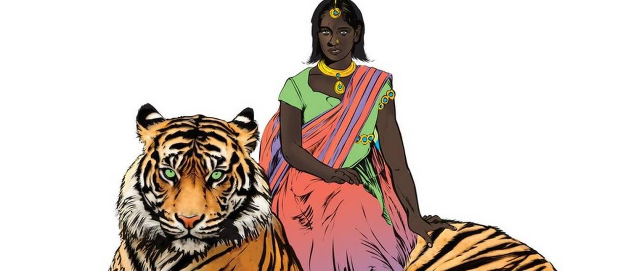 Com ajuda divina, Priya Shakti combate estupros montada em um tigre Foto: Divulgação