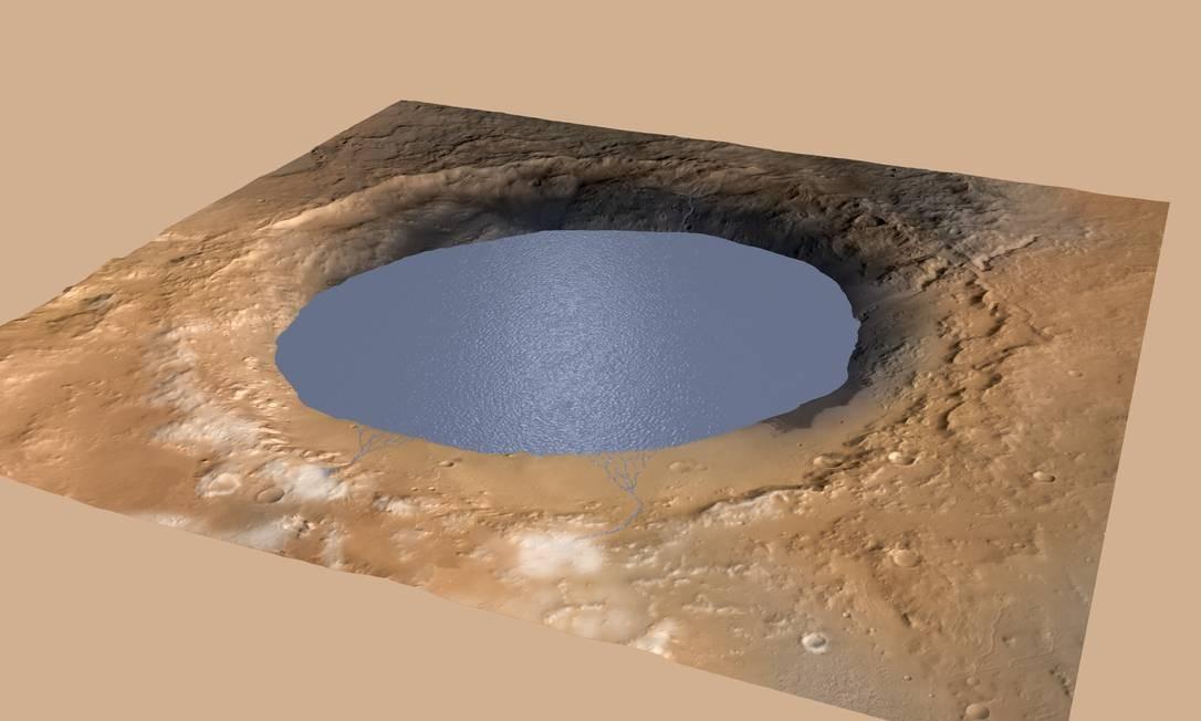 Ilustração mostra água preenchendo a Cratera Gale, onde teria formado um grande lago no passado Foto: Nasa