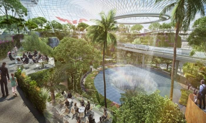 Jardim gigante, cúpula de vidro e restaurantes em breve no aeroporto de Cingapura Foto: Reprodução