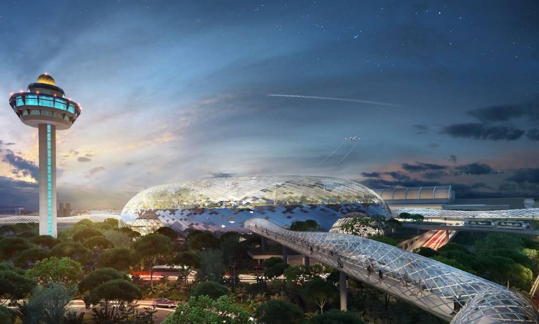 Nova área do Aeroporto de Cingapura, da empresa que administra o Galeão, terá jardim gigante e hotel
