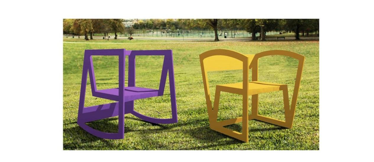 Balanço e fixa, as duas versões da mesma cadeira criada por um grupo de arquitetos cearenses Foto: Divulgação