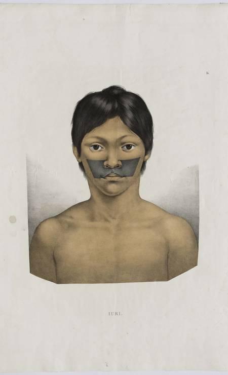 O índio Iuri, em gravura do álbum 'Viagem ao Brasil' de Spix e Martius Foto: Edouard Fraipont / Divulgação