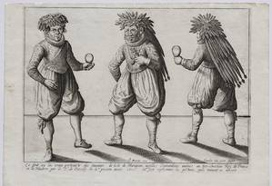 'Os Tupinambá levados à França em 1613'. A gravura retrata índios Tupinambá da Ilha do Maranhão, em trajes da época de Luis XIII, dançando e tocando chocalhos. É uma das mais raras gravuras europeias sobre o Brasil. O desenho original é de Joachim du Viert, e a impressão, de Pierre-Jean Mariette Foto: Divulgação
