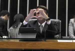 Deputado Jair Bolsonaro nesta quarta-feira na Câmara dos Deputados Foto: Givaldo Barbosa / Agência O Globo