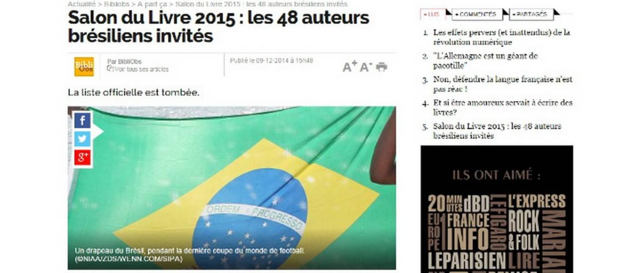 A nova versão da matéria no site do 'Nouvel Observateur', com a foto já alterada Foto: Le Nouvel Observateur / Reprodução