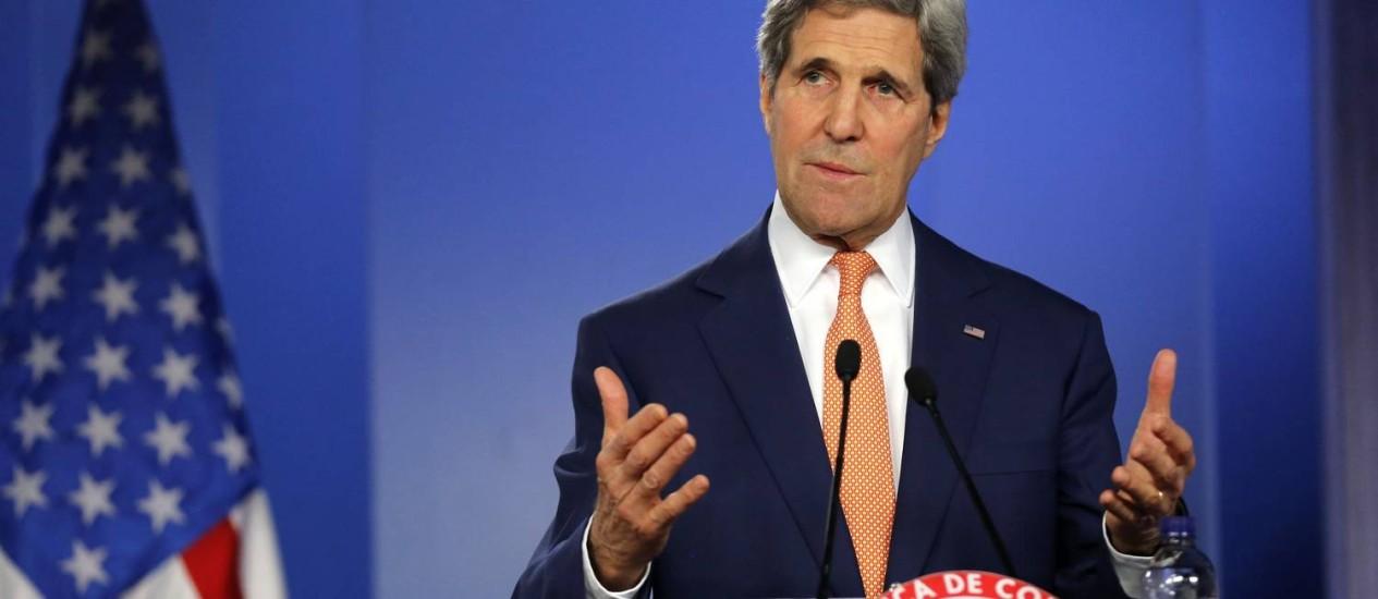 John Kerry. Secretário americano de Estado quer união de países do Conselho de Segurança da ONU para discutir noegociações de paz em Israel Foto: JOHN VIZCAINO / REUTERS