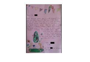 A carta enviada pela garota de 9 anos ao professor Foto: Reprodução / PinkNews
