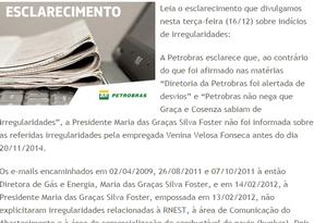Trecho de nota divulgada pela Petrobras em defesa de Graça Foster Foto: Repdrodução