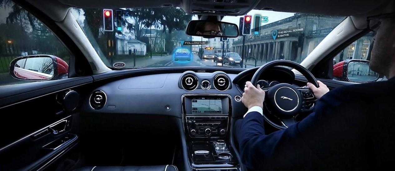 Exemplo do novo sistema atuando num Jaguar XF Foto: Divulgação