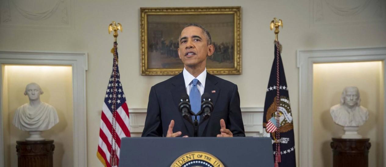 Barack Obama durante o anúncio da reaproximação diplomática com Cuba. Casa Branca lançou site em espanhol sobre o tema Foto: POOL / REUTERS