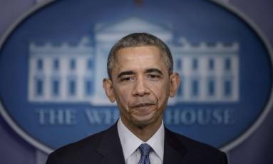 O presidente Barack Obama durante entrevista coletiva na Casa Branca Foto: BRENDAN SMIALOWSKI / AFP