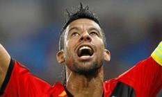 Léo Moura comemora um gol pelo Flamengo Foto: Márcio Alves / Márcio Alves