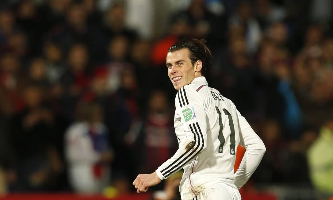 Bale sorri após marcar gol pelo Real Madrid na final do Mundial de Clubes da Fifa sobre o San Lorenzo Foto: Abdeljalil Bounhar / AP