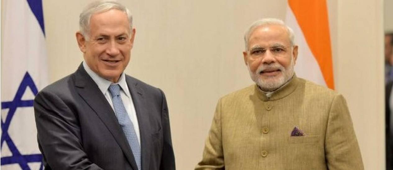 Primeiros-ministros de Israel e Índia, Benjamin Netanyahu e Narendra Modi, durante Assembleia Geral da ONU, em setembro Foto: Avi Ohayon / GPO
