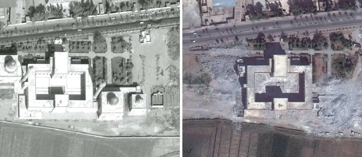Fotos de satélite mostram destruição no santuário de Uwais al-Qurani e Ammar bin Yasser, em Raqqa na Síria. Agência da ONU denunciou destruição de construção da Antiguidade durante a guerra civil síria Foto: - / AFP