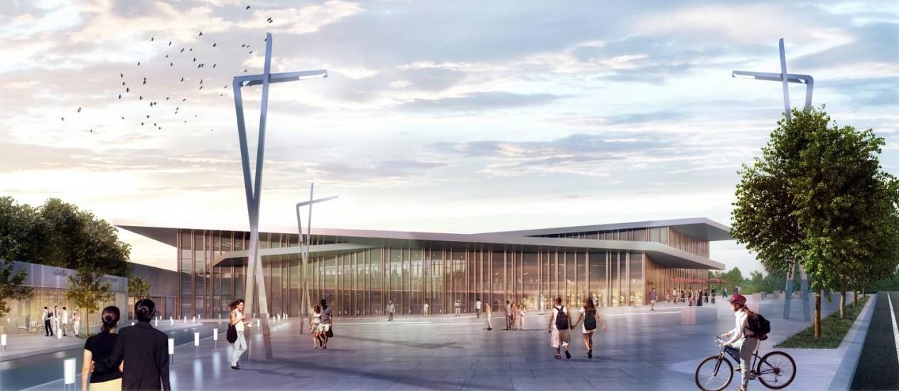 A estação de trem de Le Bourget, nova entrada norte de Paris, que foi projetada pela carioca Elizabeth de Portzamparc Foto: Divulgação