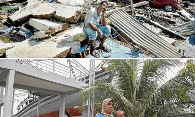 Uma década. Banda Aceh, na Sumatra, em janeiro de 2005 e agora: o barco que ficou sobre uma casa permanece em memória da tragédia Foto: AFP/15-1-2005 e 6-12-2014