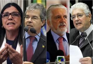 Alguns dos beneficiados com a regalia: Roseana Sarney, Jorge Vianna e Roberto Requião Foto: O Globo / Montagem