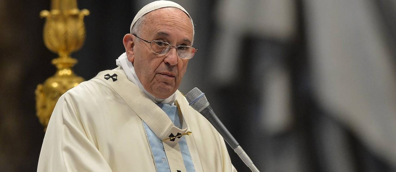 Papa Francisco, durante missa na Basília de São Pedro Foto: ANDREAS SOLARO / AFP