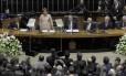 A presidente Dilma discursa no Congresso, durante cerimônia de posse