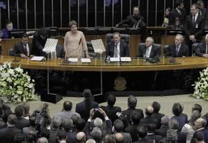 A presidente Dilma discursa no Congresso, durante cerimônia de posse Foto: Givaldo Barbosa/O Globo