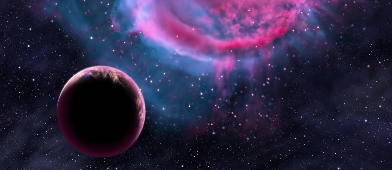 Ilustração mostra planeta extrassolar parecido com a Terra na órbita de uma estrela similar ao Sol já no fim da sua vida Foto: David A. Aguilar/CfA
