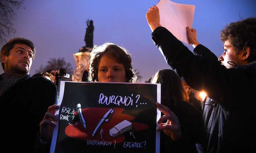 Em Paris, o palco da manifestação foi a Place de la Republique DOMINIQUE FAGET / AFP