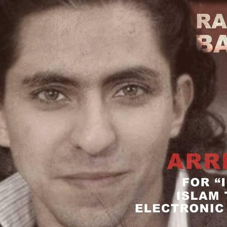 Cartaz de ONG protesta contra pena imposta a Raif Badawi: