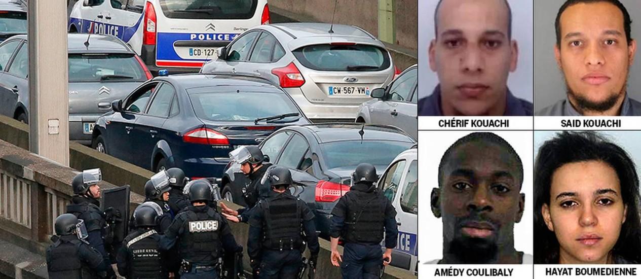 Os irmãos Chérif e Said, supostos autores do ataque ao jornal 'Charlie Hebdo', e Amedy e Hayat, que mantém reféns em Paris, são cercados pela polícia Foto: Agências